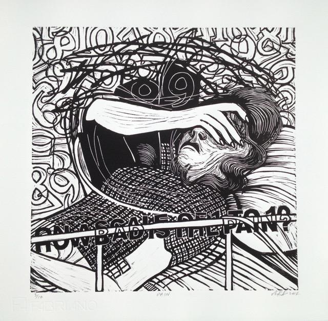 Lino cut on Fabriano Paper, 2014 28 x 28cms, Andrea Radley